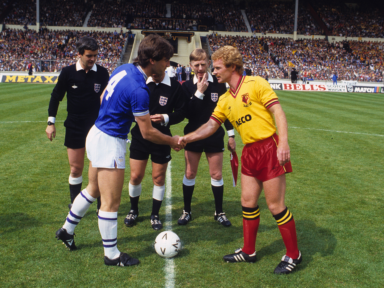 Watford FC Archive Season 1983-84 FA Cup Final Pic Alan Cozzi 07968336683 Everton v Watford 19/05/1984 Watfords Les Taylor and Evertons Kevin Ratcliffe